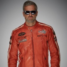 GULF Racing Men's leather jacket - orange