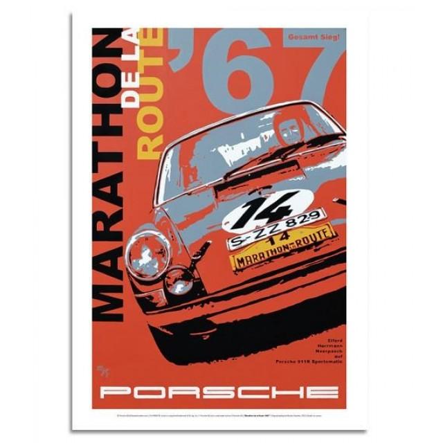 PLAKÁT Porsche 911R 1967 Marathon de la Route
